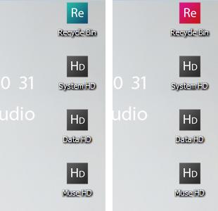 ハードディスクのアイコンとごみ箱2変化