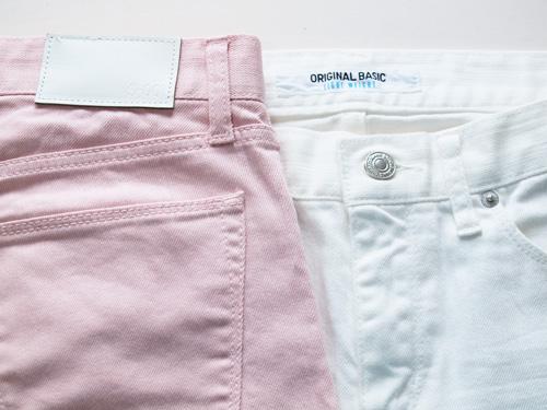 白と桜色のジーンズ。