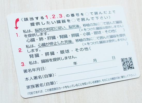 意思表示カードの記入欄(裏面)