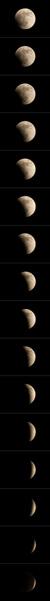 21:45 から 23:00 頃までの約5分間隔の月の様子
