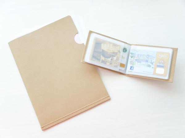 ジーンズのラベル素材で作ったペーパーフォルダとカードケース