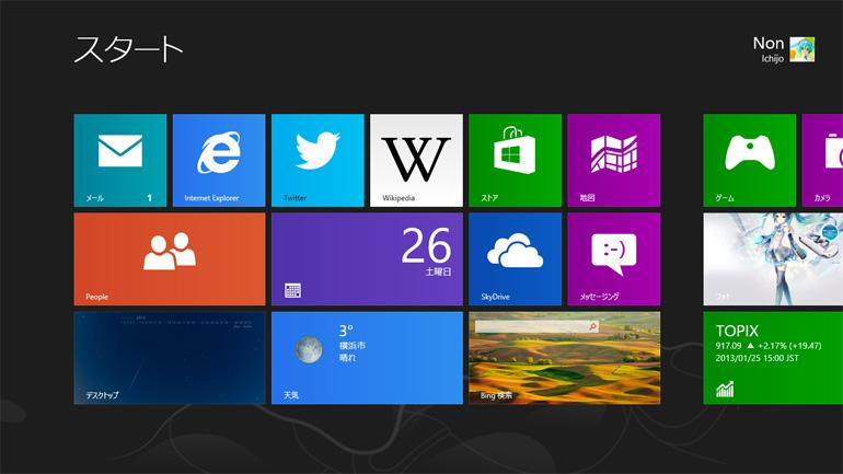 Modern UI のスタート画面